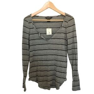 Lucky Brand Striped Cotton Blend Long Sleeve Tee